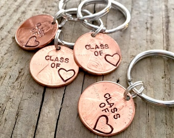 Set of 4 Class of 2017 Hand Stamped Graduation Gift, Personalized Custom Lucky Penny Keychain for Graduate, High School, College, University