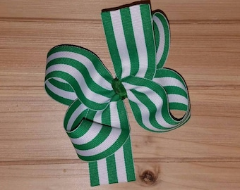 STORE CLOSING, Green/White Stripe, St. Patrick's Day, boutique hair bow