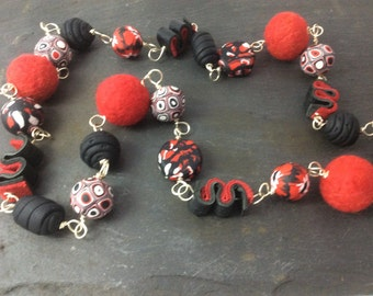 Mixed media necklace - easy over the head - red, black, white necklace - polymer clay, felt, leather, wire
