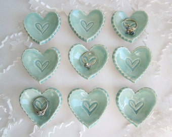 Birthday favor, wedding favor, bridal shower favor, ring holder,  ceramic heart storage, heart dishes, 2 sizes available