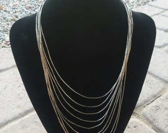 Sterling Silver Multi-Strand Liquid Silver Bead Necklace Tiered Waterfall Navajo Handmade Old Pawn Unsigned