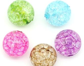 Set of 5 acrylic 12mm round beads