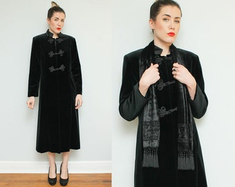 Long Black Velvet Jacket  // 90s Maxi Toggle Closure Coat Dress Beaded Scarf Gothic Victorian Size Medium