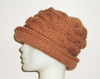 Cinnamon Brown Hat Womens gift for woman gift, hand knitted, Knit, Winter Hat, Women's hat, for her, Mom, Mothers Day, Mother's Day Gift