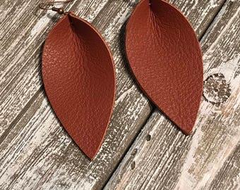 Leather Earrings, Leaf Earring,  terra-cotta, Brown, Light Weight
