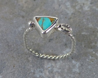 Tiny Turquoise Triangle Ring, sterling silver