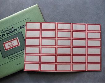 """30 Vintage Perforated Dennison Red Bordered Gummed Labels, 13/16"""" x 1 5/8"""""""