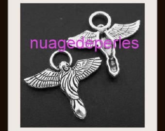 2 Angels pendant Gothic necklace bracelet set
