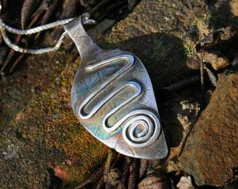 Silver Boho Pendant, Leaf, Spiral Design