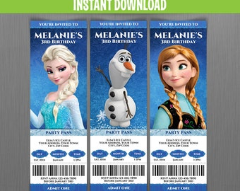 Disney Frozen Birthday Ticket Invitations (Set 1) - Instant Download and Edit with Adobe Reader