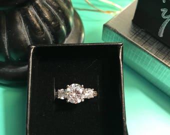 Triple Stone Engagement Ring