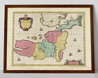 Old Map of Lolland, Denmark   Historical Danish Map–Nakskov, Hunseby, Marlbo, Bandholm, Nykøbing, Flaster, Horreby, Orehoved, Birket, Rødby