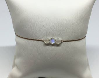 Adjustable bracelet with 3 small hexagonal and faceted Rainbow Moonstones - different thread colours available