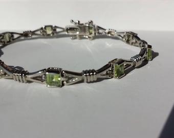 Peridot Sterling Silver Bracelet, Sterling Bracelet, August Birthstone
