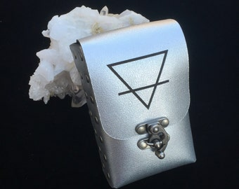 Ready to ship~ LAST ONE EARTH etched Alchemy Element Symbol on Silver Leather Tarot Deck Cards Holder Pouch Case