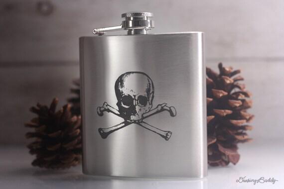 Skull and Crossbones -  Laser Engraved Stainless Steel Hip Flask
