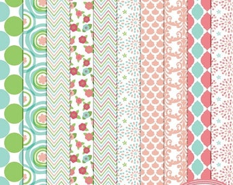 50%OFF Hello spring digital papers, digital scrapbook papers, scrapbook patterned papers, commercial use, instant download