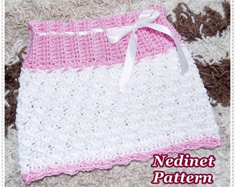 Crochet baby skirt pattern, crochet baby clothing pattern, crochet pattern, crochet skirt pattern, 0-3 years, How to make baby skirt