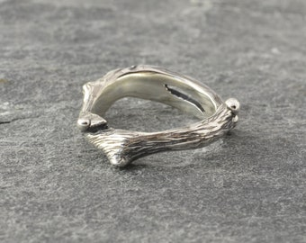 Twig silver ring, recycled silver branch, sculpture contemporary jewellery, sterling silver ring