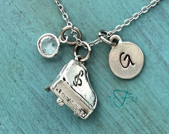 Piano Charm Necklace, Personalized Necklace, Silver Pewter Piano Charm, Custom Necklace, Swarovski Crystal birthstone, monogram