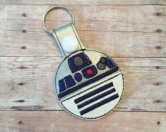 R2D2 Star Wars inspired key chain/snap tab