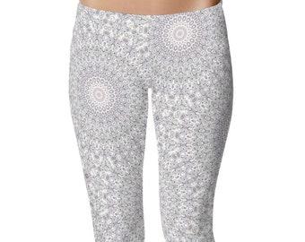 Tribal Yoga Pants, Lavender and Gray Boho Leggings, Tribal Leggings, Stretchy Pants, Printed Tights, Mandala Print Pants