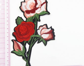 Pink Iron on Patch, Red Rose Patch ,Four Flowers Rose Patch ,Iron on Patches or Sewing on Patch Embellishment,19×11CM