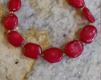 Red Coral  Bracelet, Size 7.