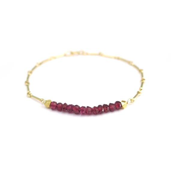 Tiny Gold Garnet Bracelet
