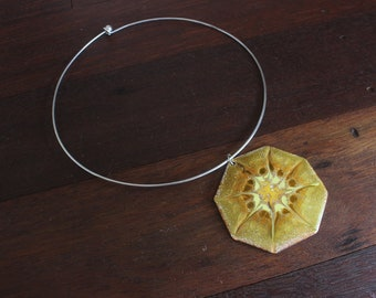 70's Vintage brass octagon sunshine glazed pendent on chocker necklace festival boho