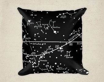 Star Map Constellations Pillow, Decor Home, Night Sky Cushion, Constellation Decor, kids playroom Gift,  Black and White