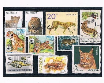 Wild Cats on Postage Stamps - wildlife, big cats: lion, tiger, leopard, cheetah, lynx | vintage wildlife thematic postal stamps, upcycle etc