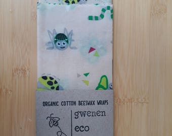 Children's organic cotton beeswax eco wraps - children's lunchbox pack (2) - made in Cornwall