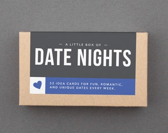 "Date Night Ideas Cards, Jar. Fun, Romantic, Creative Wedding, Anniversary Gift for Parents, Friends, Mom, Dad, Couple. ""Date Nights"" (L5DAT)"