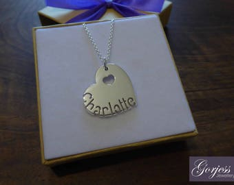 Silver Personalised Heart and Name Pendant Necklace with Heart