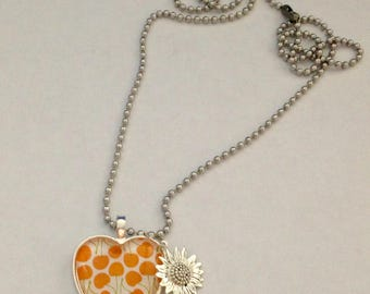 Handmade Cherries & Sunflower Silver Tone Heart Glass Pendant Necklace