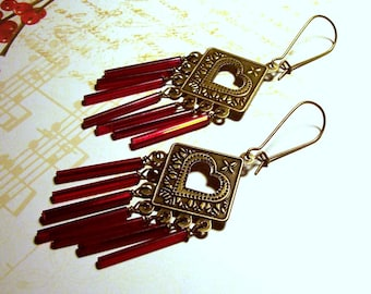 Antique Brass Heart Cut Out Chandelier Earrings with Red Glass Accents