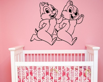 Disney Wall Decal Chip and Dale Vinyl Sticker Cartoon Decorations for Home Funny Chipmunk Art Kids Baby Room Nursery Animal Decor cnp2