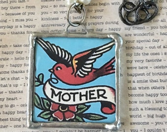 Pendant Glass Soldered Mother's Day gift, Birthday for Mom, Tattoo Art Pearl and Gunmetal Chain Necklace OOAK