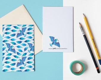Watercolor feathers and bird pattern folded postcard with envelope / gevouwen kaart - design by Heleen van den Thillart
