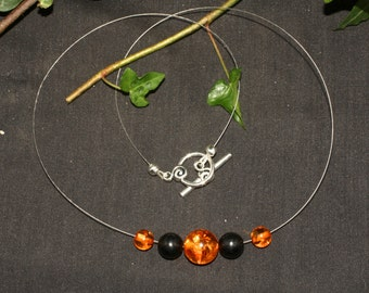 Modern Amber and Lignite Jet Witches necklace  - Pagan, Wicca, Ritual, Magic