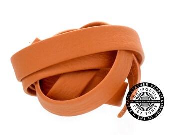 """Genuine Flat Leather Strap, Folded Faded Orange, 10 mm (3/8 inch) 1 yard (36"""" inch) (1726)"""