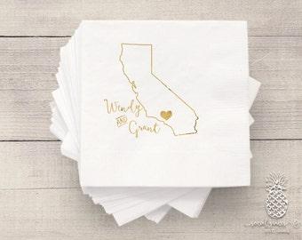 California Wedding Napkins | Personalized Napkin | Hot Stamped Foil