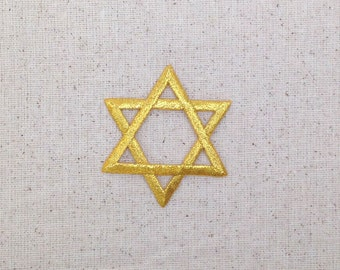Large - Gold - Star of David - Iron on Applique - Embroidered Patch - 696909A