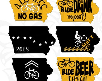 RAGBRAI- Iowa Bicycle decals or iron ons- Great for Bikes, Helmets, Water Bottles, Tents, Shirts and Buses, or anything else you can imagine