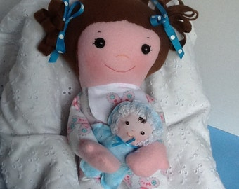 "Easy Cloth Rag Doll PDF Pattern Baby Sister 15"" Rag Doll Pattern- Easy Beginner PDF Sewing Patterns by Peekaboo Porch"