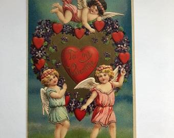 Vintage Valentine Postcard 1900's To My Valentine Three Cupid hearts Made in Germany Valentine Ephemera