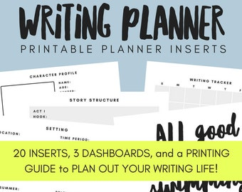 Writing/Novel Planner Printable Planner Inserts - ANY SIZE PLANNER