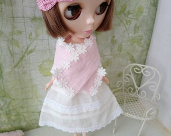 blythe dress set for pullip Neo blythe licca dal shibajuku hand made white lace outfit miniature doll clothing 1/6 scale vintage style