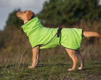Dog Bathrobe lime green - Made to Order - Doggy bathrobe